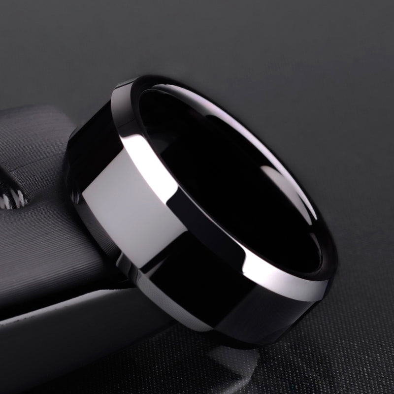 Infinity Black High Polished Tungsten Ring