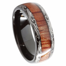 Black Tungsten Design Ring with Koa Wood Inlay