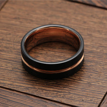 Tungsten Carbide Engagement Band Grooved Center Rose Gold and Black Ring with Brushed Finish