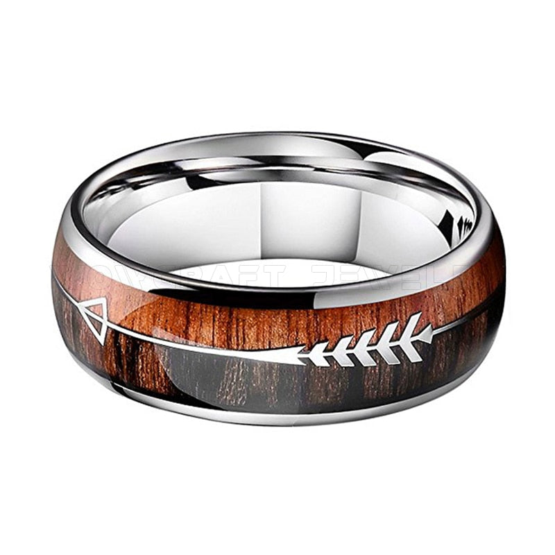 Natural Black Wood Tungsten Dome Ring with Koa Wood And Feathered Arrow