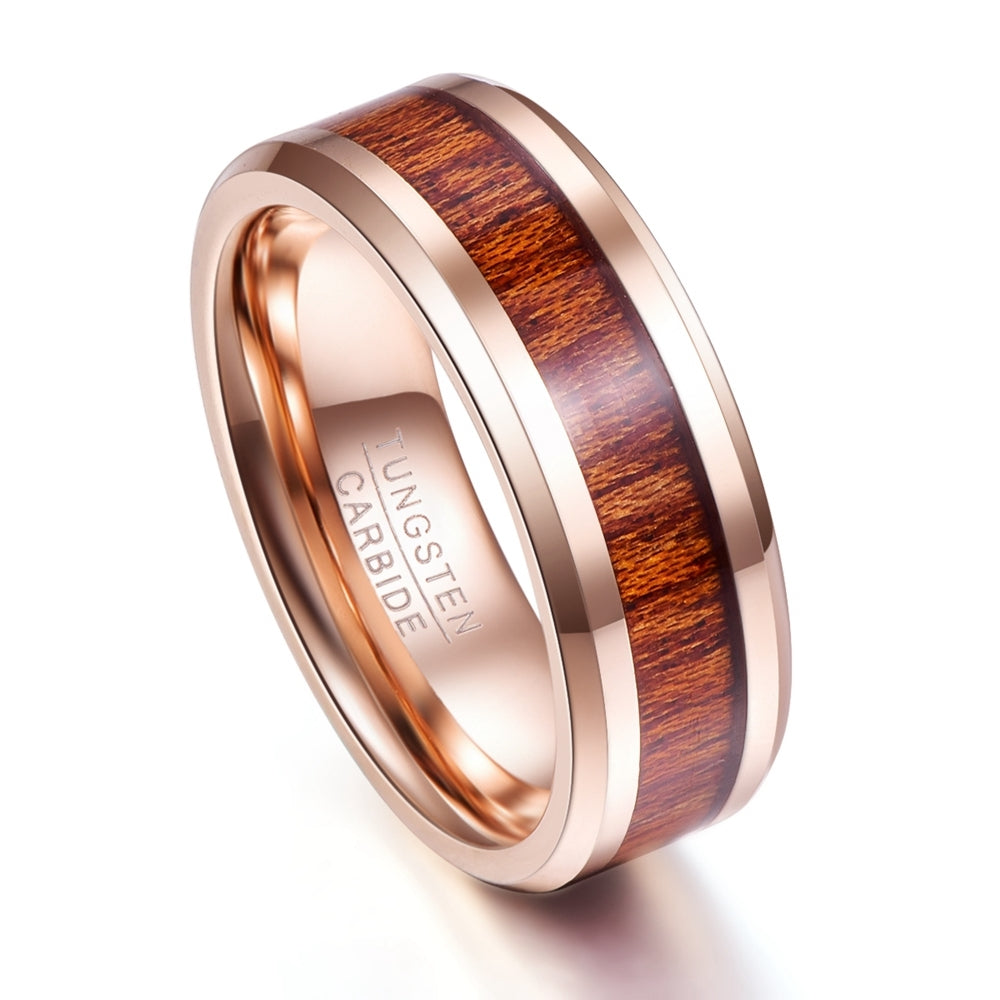 Rose Gold Wood Grain Tungsten Carbide Ring
