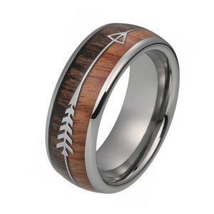 8mm Tungsten Carbide Ring for Men with Real Wood Arrows Inlay