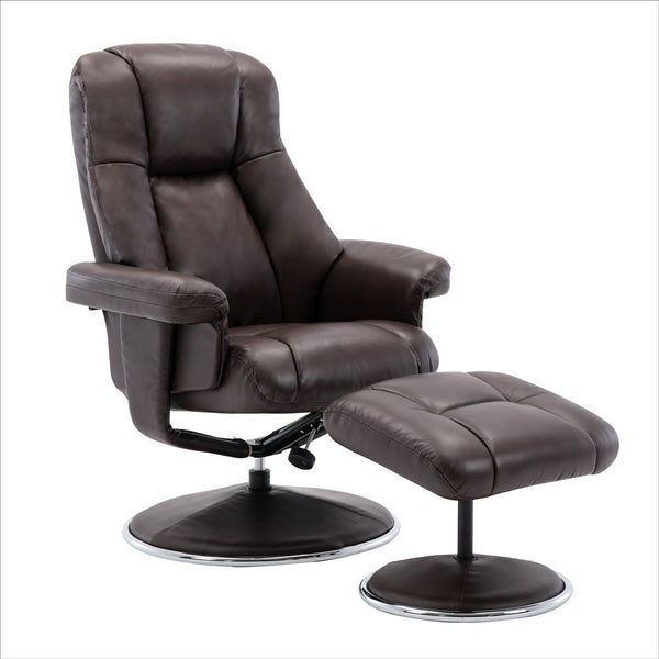 The Denver Swivel Recliner Chair & Footstool - Genuine Leather - Brown