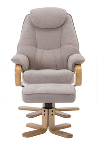 Pisa Swivel Recliner Chair & Matching Footstool In Wheat Lisbon Fabric