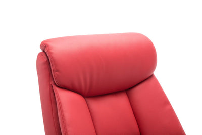 Biarritz Plush Faux Leather Swivel Recliner Chair & Matching Footstool In Cherry