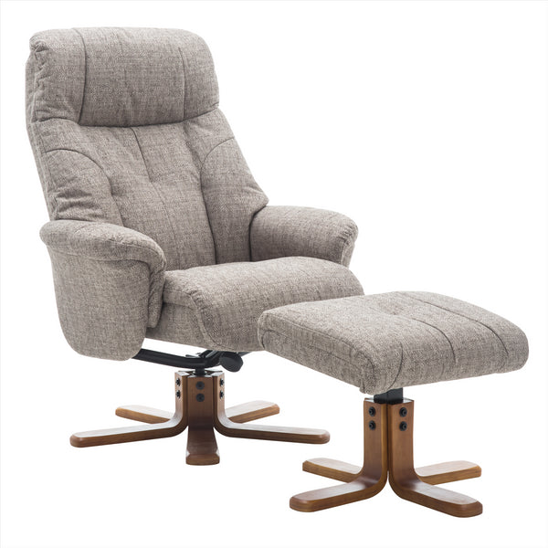 Dubai Lisbon Mocha Fabric Swivel Recliner Chair with Matching Footstool
