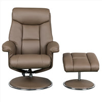 Biarritz Plush Swivel Recliner Chair & Matching Footstool In Truffle/Chrome