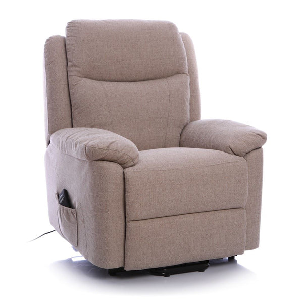 The Oxford - Riser Recliner Lift and Tilt Arm Chair, Electric Single Motor Mobility Chair, in Soft Beige Fabric