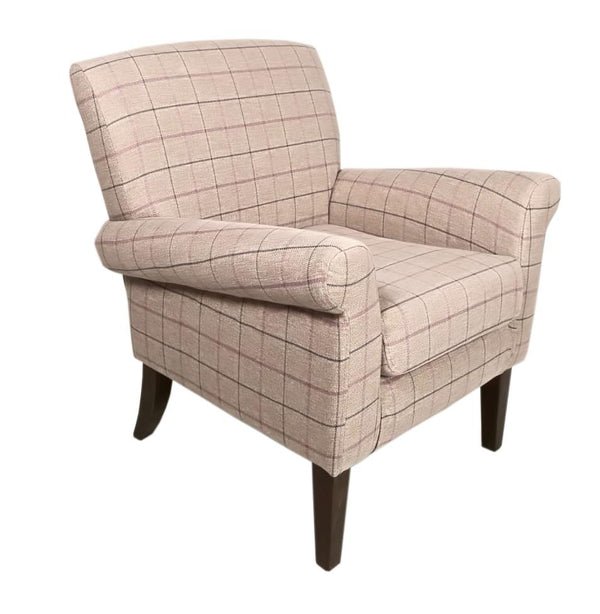 The Highland Occasional Chair in Violet Plaid Soft Fabric & Dark Wood