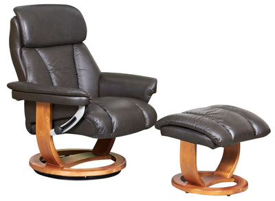The Mars Premium Genuine Leather Swivel Recliner Chair/Footstool In Chocolate