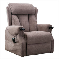 Denmark Dual Motor Riser Recliner Ergonomic Arm Chair Brushstroke Mocha Fabric