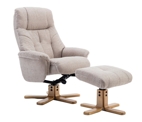 Dubai Lisbon Wheat Fabric Swivel Recliner Chair With Matching Footstool