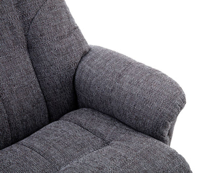 Dubai Lisbon Grey Fabric Swivel Recliner Chair With Matching Footstool