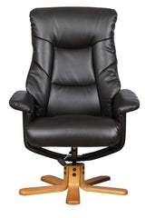 Shanghai Bonded Leather Swivel Recliner Chair & Matching Footstool in Brown