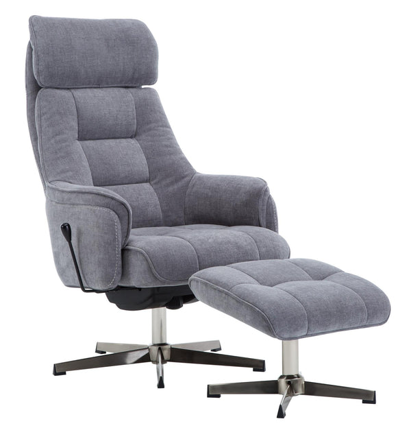 The Auckland Maskat Smoke Fabric Swivel Recliner Chair with Matching Footstool
