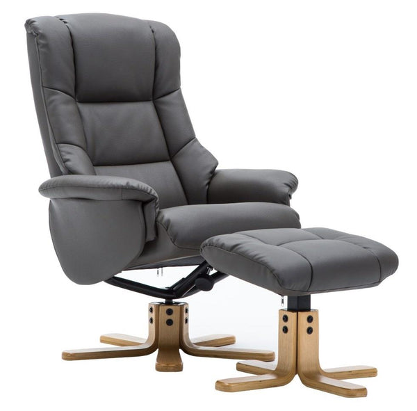 The Florence, Swivel Recliner Chair & Matching Footstool in Charcoal Plush Fabric