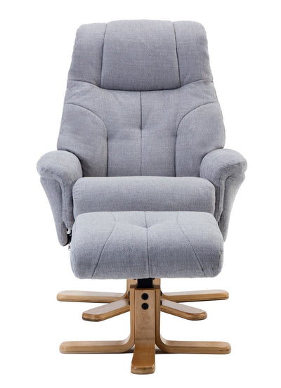 Dubai Lisbon Silver Fabric Swivel Recliner Chair With Matching Footstool