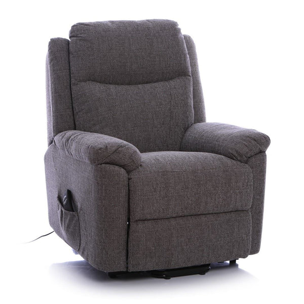 Oxford Riser Recliner / Lift & Tilt Chair in Soft Grey Fabric with USB charging