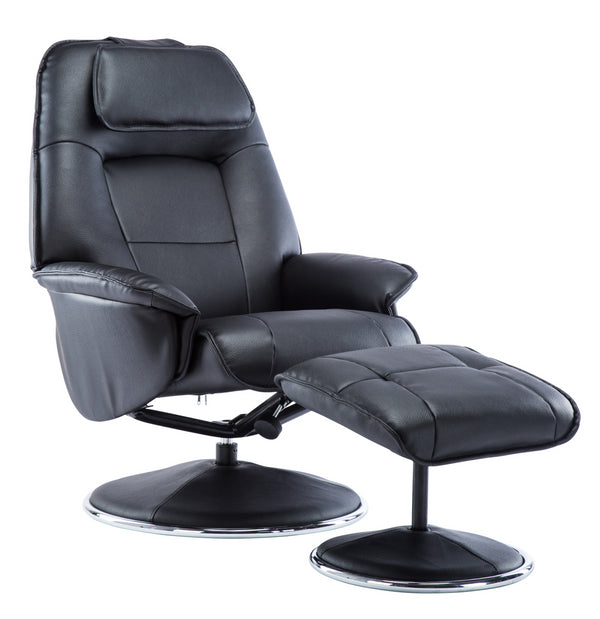 The Avant Garde Plush Leather Swivel Recliner Chair & Matching Footstool in Black