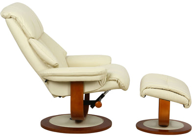 Hereford Genuine Leather Cream Swivel Recliner Chair With Matching Footstool