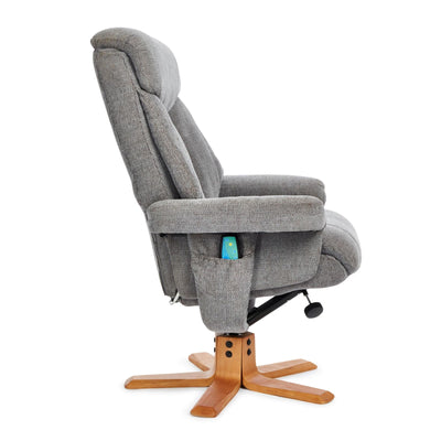 Exmouth Fabric Swivel Recliner Massage Chair & Footstool Charcoal Grey