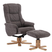 Cairo Swivel Recliner Chair & Footstool in Grey Lisbon Fabric - Clearance Sale