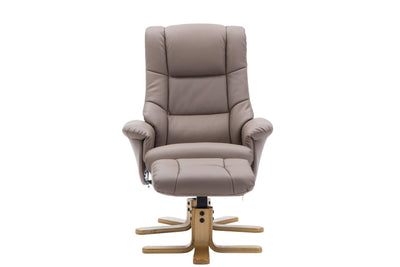 The Florence, Swivel Recliner Chair & Footstool in Earth PU Faux Leather