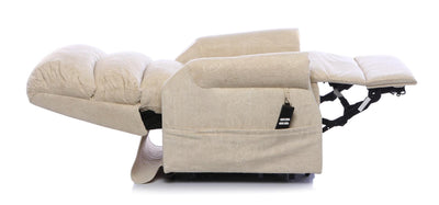 The Augusta - Dual Motor Riser Recliner Mobility Chair in Soft Fabric Finish - Cream