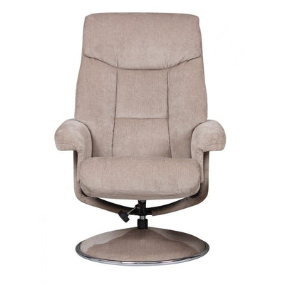 Biarritz Soft Fabric Swivel Recliner Chair & Matching Footstool In Mist /Chrome