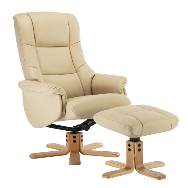 Cairo Swivel Recliner Chair & Footstool in Cream Plush Faux Leather
