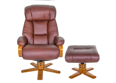 The Nice - Swivel Recliner Chair And Matching Footstool In Chestnut Genuine Leather
