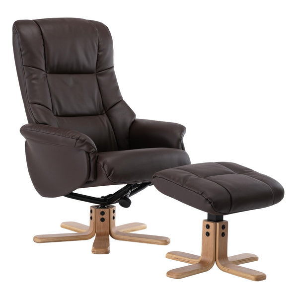 Cairo Swivel Recliner Chair & Footstool in Brown Plush Faux Leather