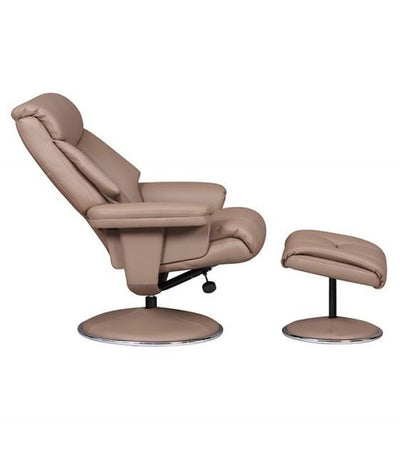 Biarritz Plush Swivel Recliner Chair & Matching Footstool In Earth/Chrome