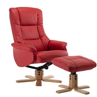 Cairo Swivel Recliner Chair & Footstool in Cherry Plush Faux Leather