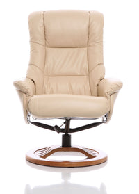 The Mandalay Swivel Recliner Chair In Cream Bonded Leather - Clearance Sale