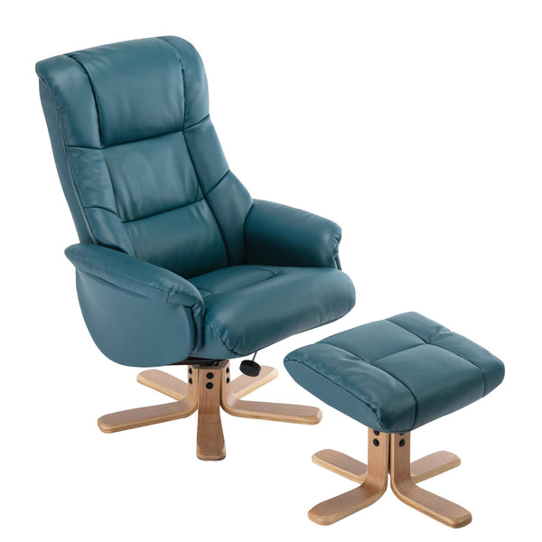 Cairo Swivel Recliner Chair & Footstool in Lagoon Plush Faux Leather