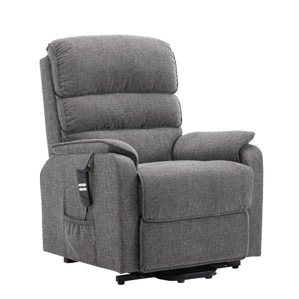 Henley Riser Recliner Mobility Chair, Dual Motor, Heat & Massage in Lisbon Grey Fabric