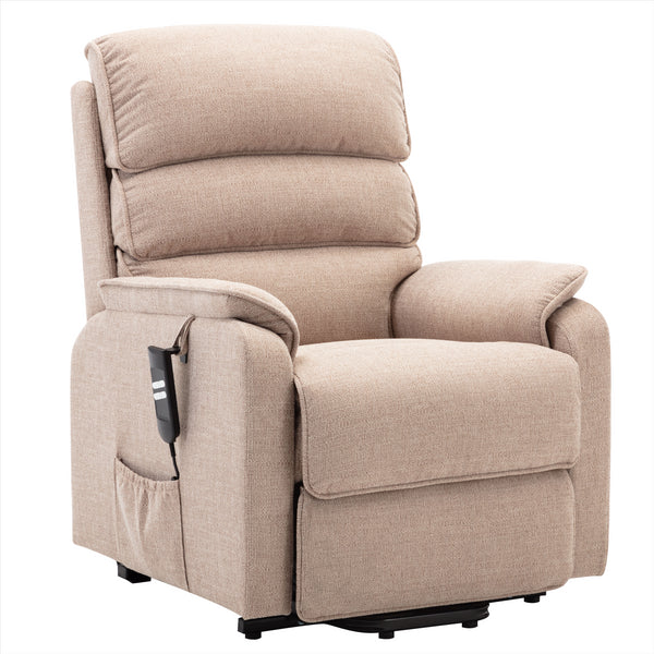 Valencia Dual Motor Riser Recliner Mobility Lift Chair in Wheat Fabric