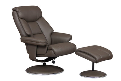 Biarritz Plush Swivel Recliner Chair & Matching Footstool In Charcoal/Chrome