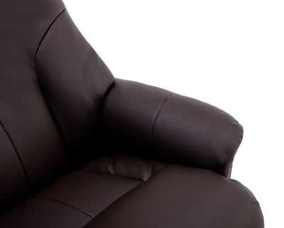 Dubai Faux Leather Brown Plush Swivel Recliner Chair With Matching Footstool