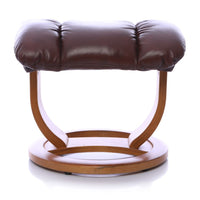 The Saigon Footstool Only - Genuine Leather In Chestnut With Cherry Base