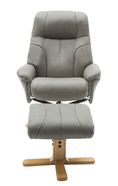 Dubai Faux Leather Grey Plush Swivel Recliner Chair With Matching Footstool