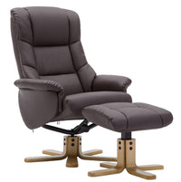 The Florence, Swivel Recliner Chair & Footstool in Brown PU Faux Leather