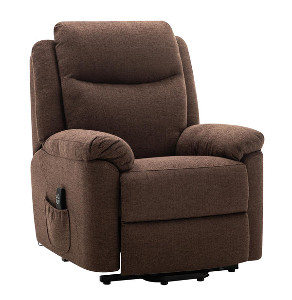Oxford Riser Recliner / Lift & Tilt Chair in Soft Chocolate Fabric with USB charging