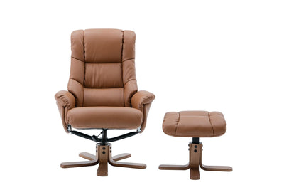 The Florence, Swivel Recliner Chair & Matching Footstool in Tan Plush Fabric