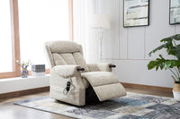 Denmark Dual Motor Riser Recliner Ergonomic Arm Chair Brushstroke Cream Fabric