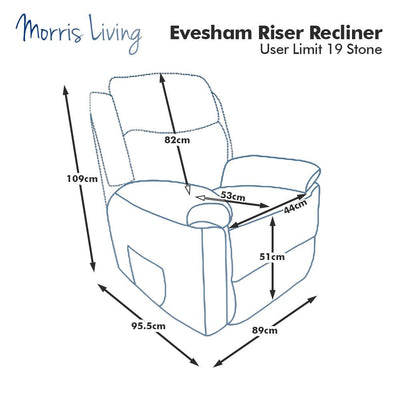 The Evesham - Mobility Riser Recliner Arm Chair - Soft Fabric in Cream
