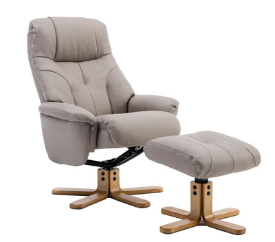 Dubai Faux Leather Pebble Plush Swivel Recliner Chair With Matching Footstool