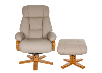 The Nice - Swivel Recliner Chair And Matching Footstool In Ivory Genuine Leather