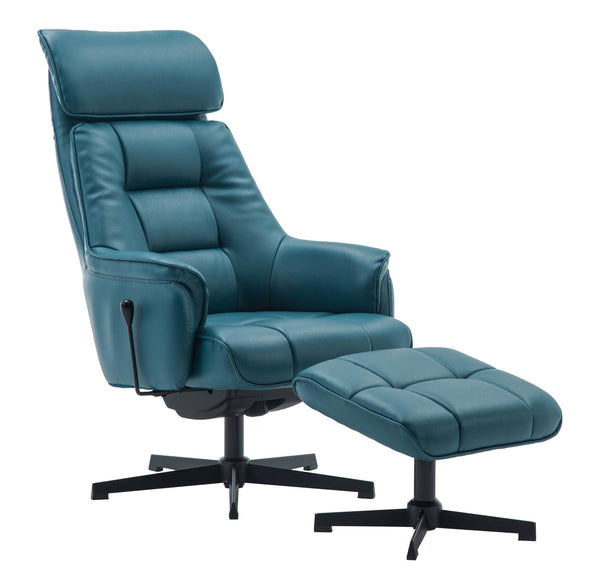 The Auckland Lagoon Plush Leather Swivel Recliner Chair with Matching Footstool
